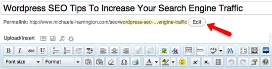 edit wordpress permalink